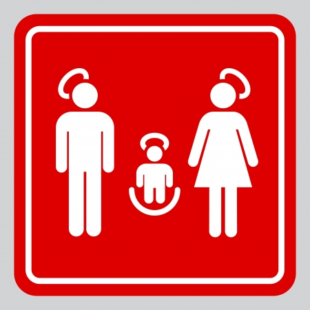 informational: Minimalistic holy family illustration mimicking an informational sign