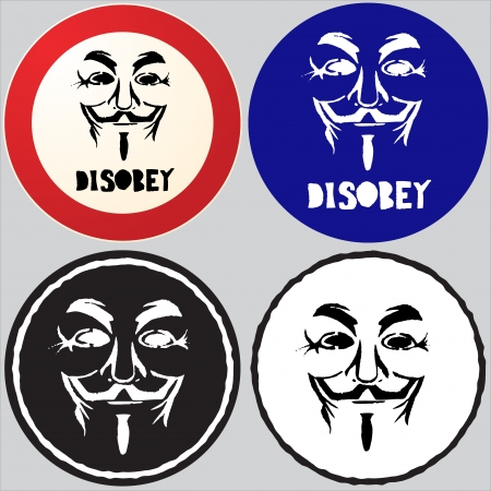 Stenciled anonymous logo mask signs, originated from a stenciled graffiti on a wall in Lisbon.