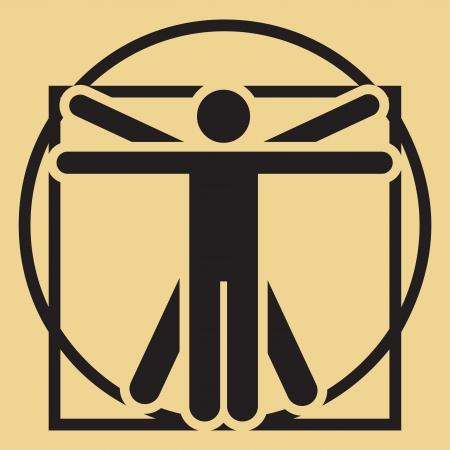 uomo vitruviano: minimalista Leonardo da Vinci segno Uomo Vitruviano Archivio Fotografico