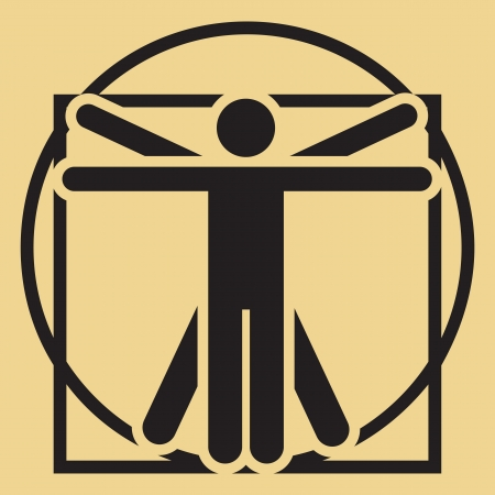 minimalistic Leonardo da Vinci vitruvian man sign photo