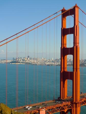 spencer: Golden Gate bridge detail and San Francisco seen from Battery Spencer Stock Photo