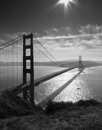 Golden Gate bridge and San Francisco seen from Battery Spencer, black and white photo
