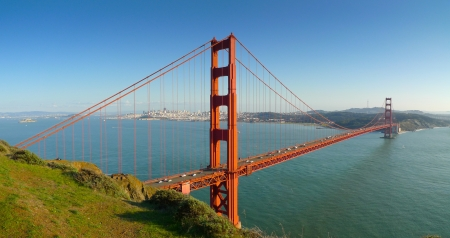 spencer: Panoramic view of Golden Gate bridge and San Francisco from Battery Spencer Stock Photo