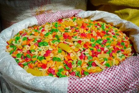 bikaner: Raw colorful pasta for sale in a market in Bikaner, Rajasthan, India