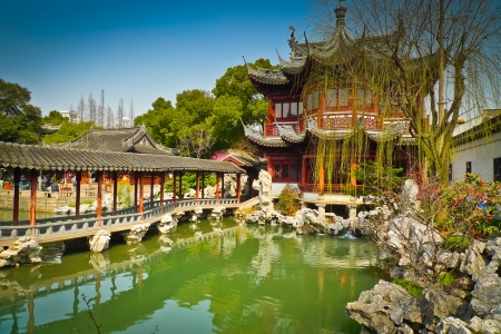Traditional pavilions in Yuyuan Gardens, Shanghai, China photo