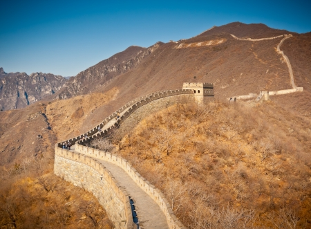 barrack: Restored Great Wall at Mutianyu, near Beijing, China