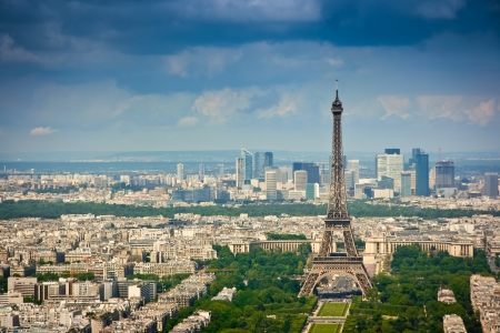 Aerial view from Montparnasse tower, looking over the Eiffel tower and La Defense district, Paris, France photo