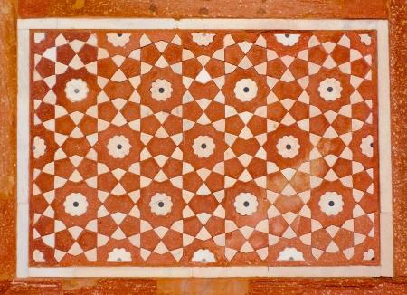 marqueteria: Detalle de una decoración en la tumba de Itmad-Ud-Daulah en Agra, Uttar Pradesh, India