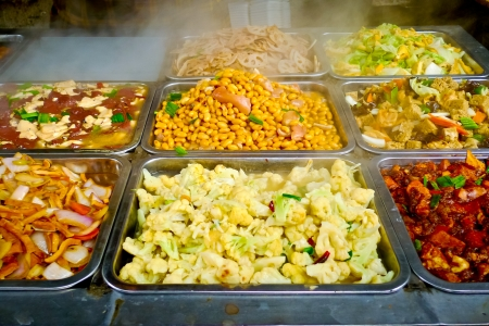 vegetable tray: Buffet trays of chinese food in Shanghai, China Stock Photo