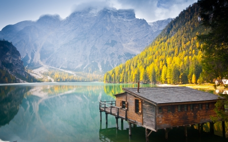 sudtirol: Hut on Braies lake and Dolomiti, Trentino Alto Adige, Italy