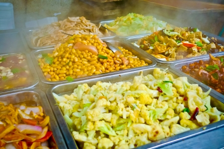 salad buffet: Buffet trays of chinese food in Shanghai, China Stock Photo