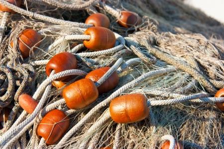 Detail der Fischernetze in Marano Lagunare, Friaul, Italien