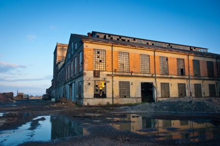 old factory: Abandoned industrial plant at sunset, Veneto, Italy