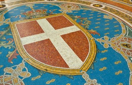 vittorio emanuele: Mosaic on the floor of Galleria Vittorio Emanuele depicting Milans coat of arms, Italy