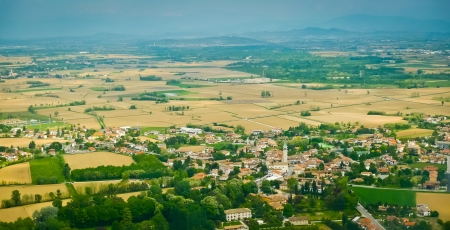 rural community: Aerial view of Ruda, Friuli, Italy Stock Photo
