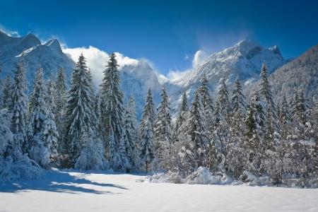 basin mountain: Fusine lakes basin and Mangart mountain range, Friuli, Italy
