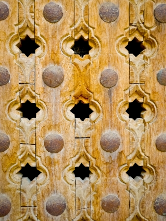 door bolt: Wooden ornate door detail in Mandawa, Rajasthan, India