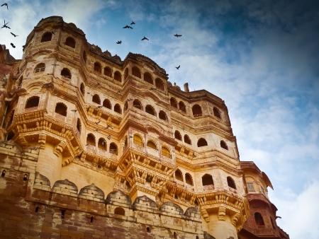 Dramatische Ansicht von Mehrangarh Fort, Jodhpur, Rajasthan, Indien