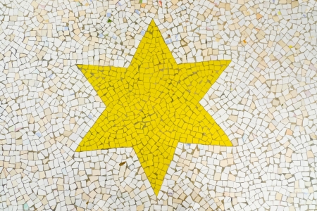 Detail of a floor mosaic showing a yellow six pointed star, Jodhpur, Rajasthan, India Stock Photo - 18310978