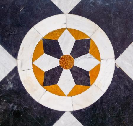 marqueteria: Inlay decoración del piso, Royal Palace, Jaisalmer, Rajasthan, India