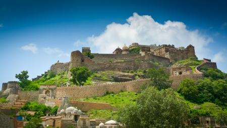 Ramparts and walls of Kumbhalgarh fort, Rajasthan, India