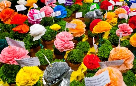 Beliebte Heiligen Festival in Lissabon, Portugal Traditional Manjerico wenig Topfpflanzen neu sprossen Basil sind als Geschenke im Laufe des Monats Juni Colorful Pappmaché Blüten gegeben werden in Töpfe an einem der vielen beliebten Verse über platziert