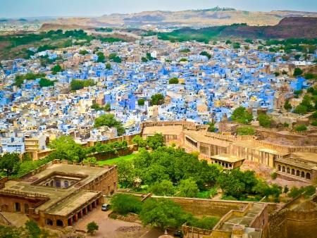 Blick auf Jodhpur, die Blue City, von Mehrangarh Fort, Rajasthan, Indien Standard-Bild