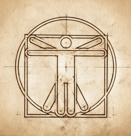 leonardo davinci: Grunge technical minimalistic design mimicking Leonardo da Vinci Vitruvian Man Stock Photo
