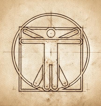 uomo vitruviano: Grunge tecnica minimalista ed elegante mimando Leonardo da Vinci, Uomo Vitruviano Archivio Fotografico