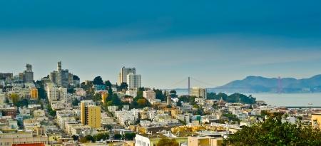 telegraph hill: Russian hill and Golden Gate bridge seen from Telegraph hill, San Francisco, California, USA