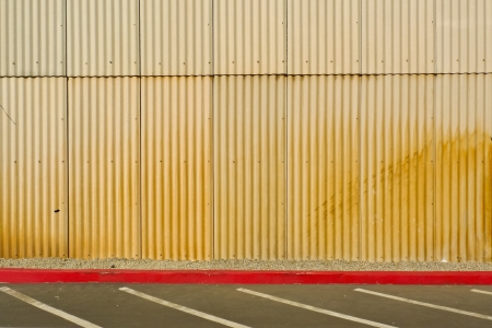 Yellow corrugated tin wall of a hangar in Crissy Field, San Francisco, California, USA Stock Photo - 18822026