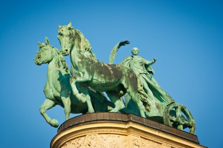 chariot: Statue of Peace of Millennium memorial in Heroes square, Budapest, Hungary