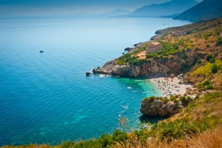 Ein Remote-Strand in Zingaro Naturschutzgebiet, Sizilien, Italien Lizenzfreie Bilder