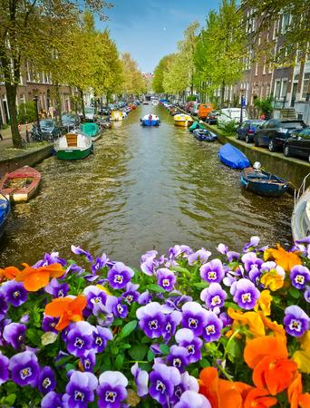 Blumen auf einer Brücke über einen Kanal in Amsterdam, Niederlande. Konzentrieren Sie sich auf den Kanal. Lizenzfreie Bilder