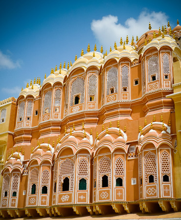 Hawa Mahal Palast (Palast der Winde), Detail der Innenhof Fassade, Jaipur, Rajasthan, Indien Editorial