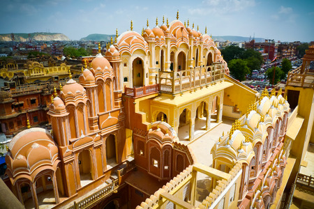 rajput: Hawa Mahal palace (Palace of the Winds), view from the top of the facade, Jaipur, Rajasthan, India