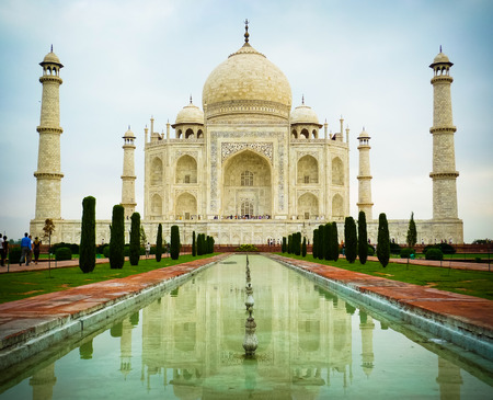 Low angle front view of Taj Mahal mausoleum in Agra, Uttar Pradesh, India photo