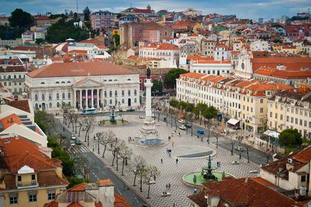 baixa: Aerial view Rossio square, Baixa, Lisbon, Portugal Editorial