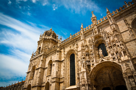 historic site: South portal of Hieronymites Monastery (Mosteiro dos Jerónimos) and Santa maria church in Belém, Lisbon, Portugal. UNESCO World Heritage Site. Stock Photo