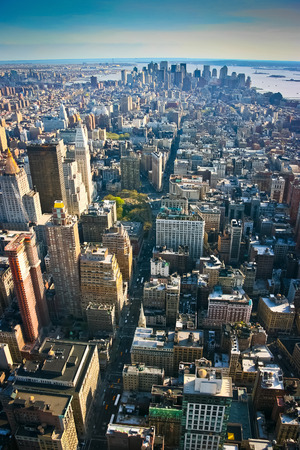 Aerial view over lower Manhattan, New York, United States of America