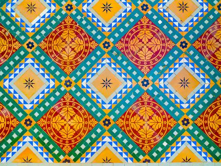 Colorful floor decoration detail in Junagarh Fort, Bikaner, Rajasthan, India