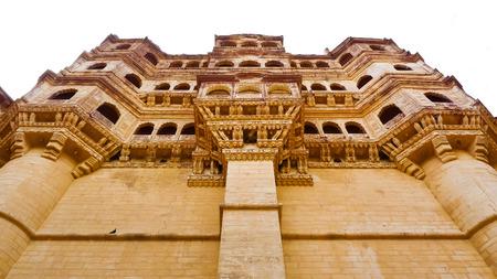 Mehrangarh Fort Balkone, von unten gesehen, Jodhpur, Rajasthan, Indien