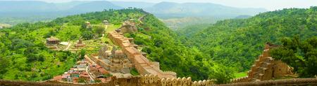 Aerial panoramic view of Kumbhalgarh fort ramparts and walls, Rajasthan, India