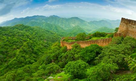 Panoramafischaugen-Blick von Kumbhalgarh Fort Wände, Rajasthan, Indien Lizenzfreie Bilder