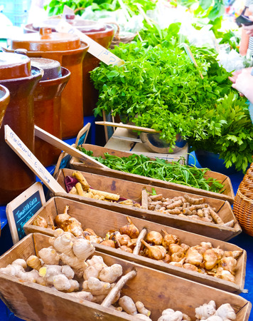 Ginger, horseradish and other vegetables for sale in an organic market in Amsterdam, Netherlands Standard-Bild