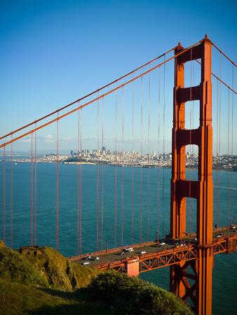 Golden Gate Bridge Säule und San Francisco von Batterie Spencer gesehen Lizenzfreie Bilder