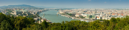 Panoramic aerial view of Pest and Erzsebet bridge from Gellert hill, Budapest, Hungary photo