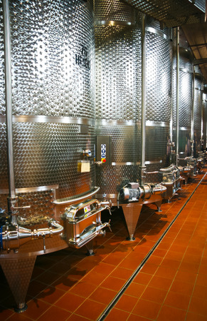 vats: Fermentation vats in a winery in Friuli, Italy