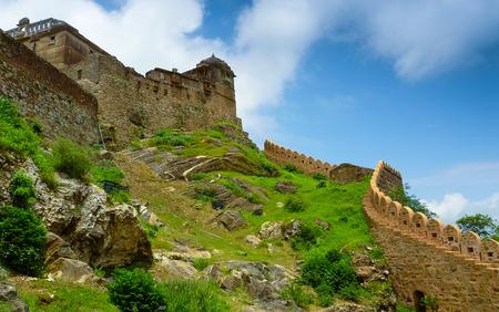 Battlements climbing Kumbhalgarh fort hill, Rajasthan, India