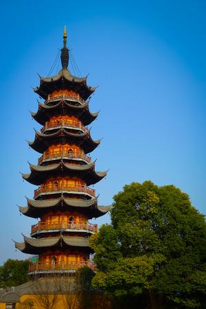 Longhua Pagoda in the Longhua Buddist Temple, Shanghai, China Standard-Bild